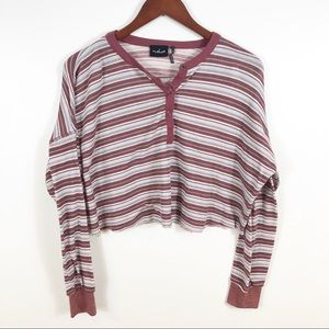 UO Out From Under Emmy Henley Striped Crop Top M